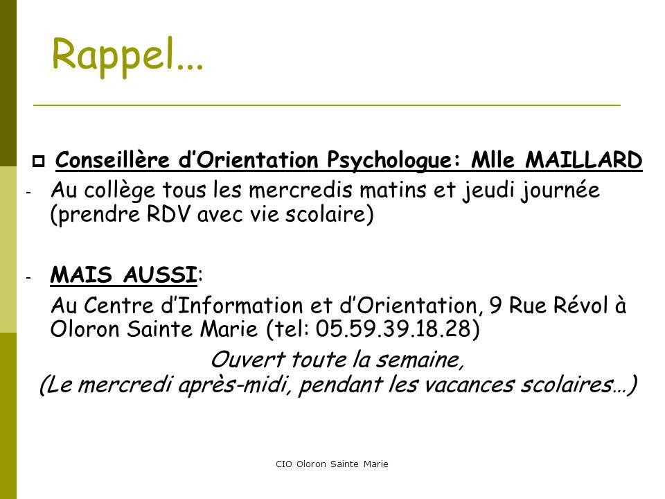 Conseillère d'Orientation Psychologue: Mlle MAILLARD
