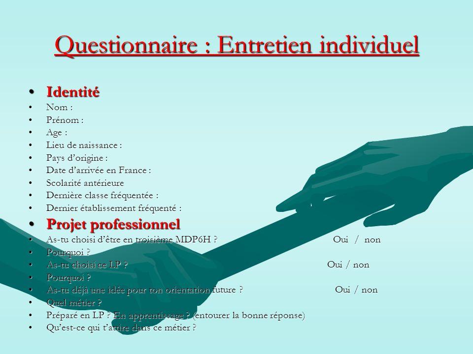 Questionnaire : Entretien individuel