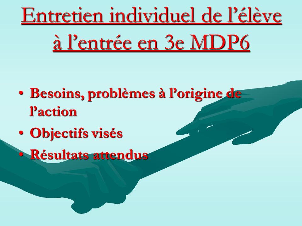 Entretien individuel de l'élève à l'entrée en 3e MDP6
