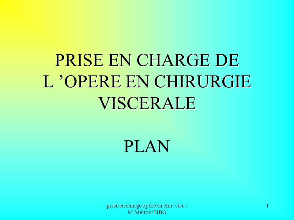 PRISE EN CHARGE DE L 'OPERE EN CHIRURGIE VISCERALE PLAN