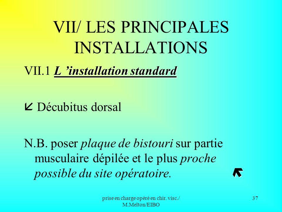 VII/ LES PRINCIPALES INSTALLATIONS