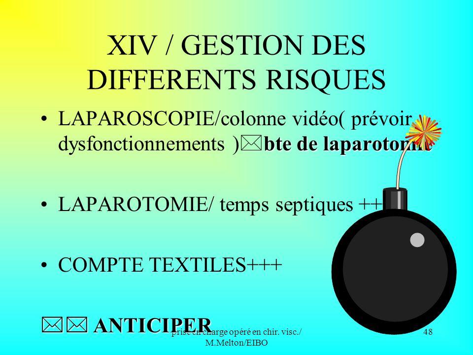 XIV / GESTION DES DIFFERENTS RISQUES