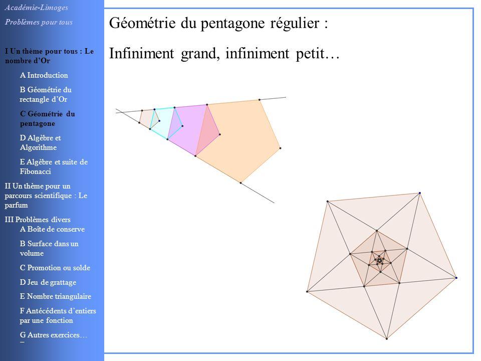 Géométrie du pentagone régulier :