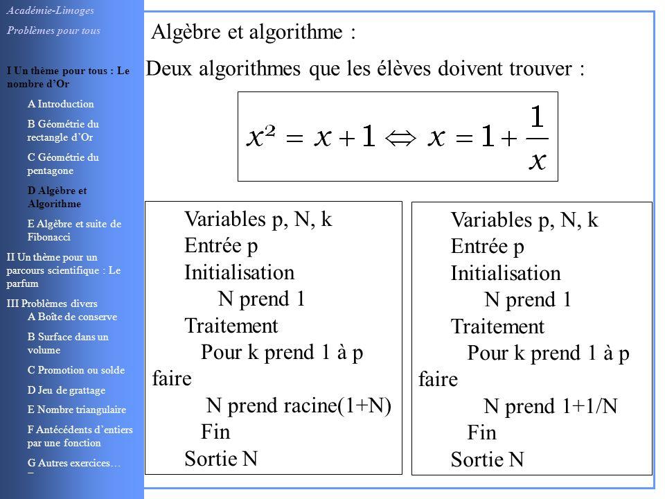 Algèbre et algorithme :