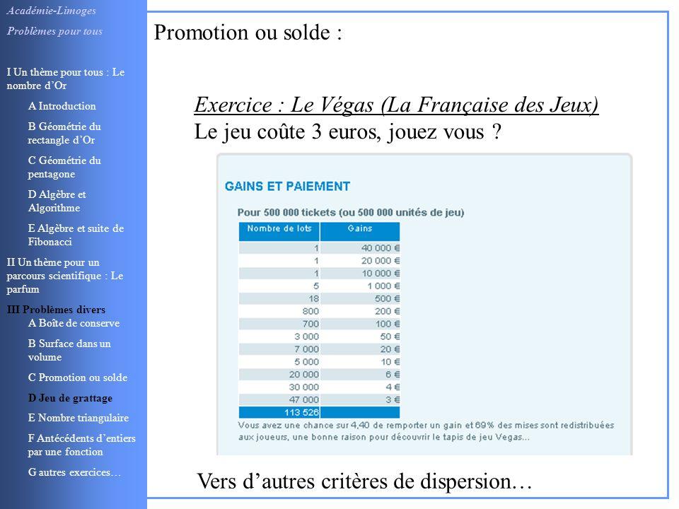 Exercice : Le Végas (La Française des Jeux)