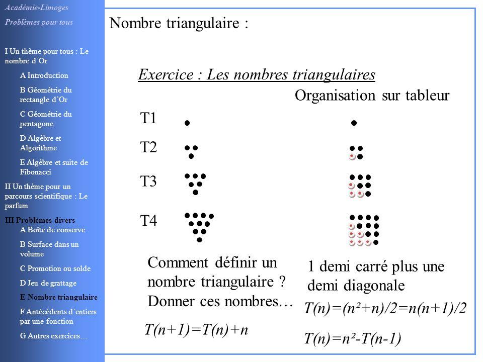 Exercice : Les nombres triangulaires Organisation sur tableur T1
