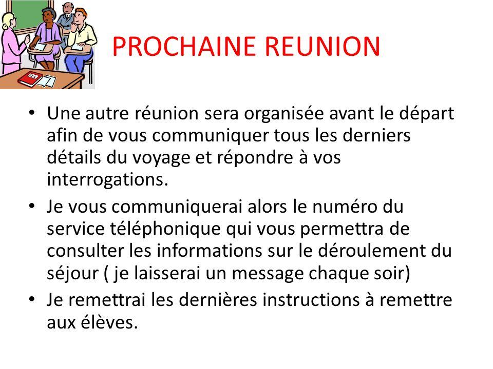PROCHAINE REUNION