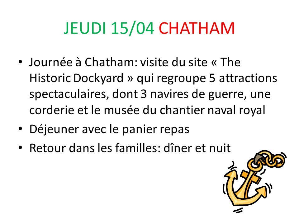 JEUDI 15/04 CHATHAM