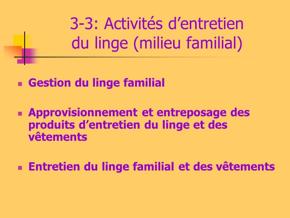 3-3: Activités d'entretien du linge (milieu familial)