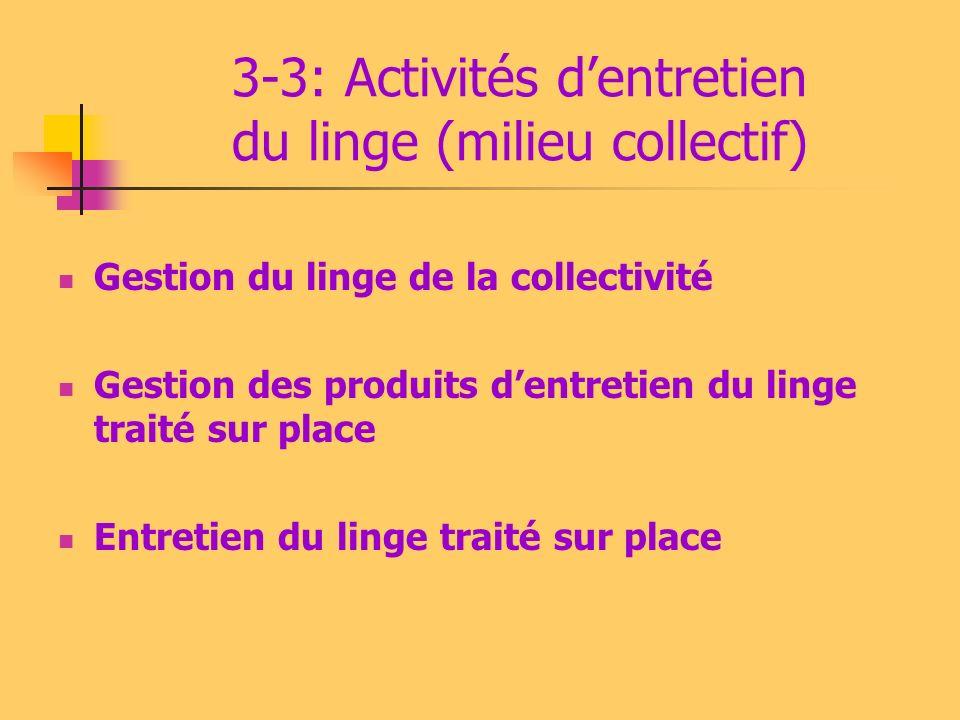 3-3: Activités d'entretien du linge (milieu collectif)