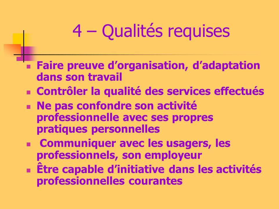 4 – Qualités requises Faire preuve d'organisation, d'adaptation dans son travail. Contrôler la qualité des services effectués.