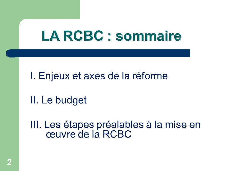 LA RCBC : sommaire I. Enjeux et axes de la réforme II. Le budget