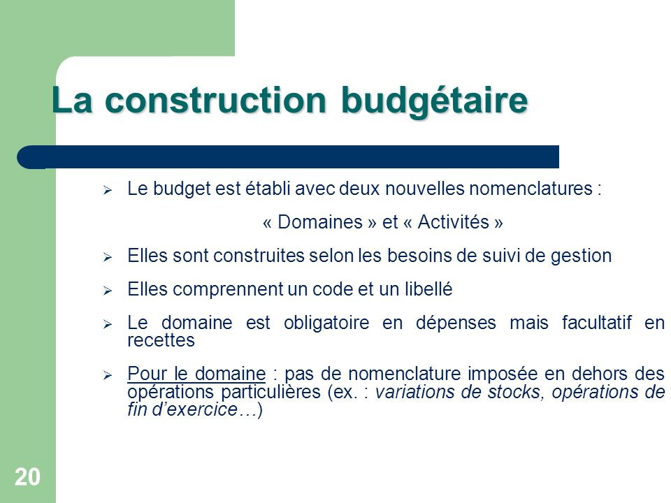 La construction budgétaire