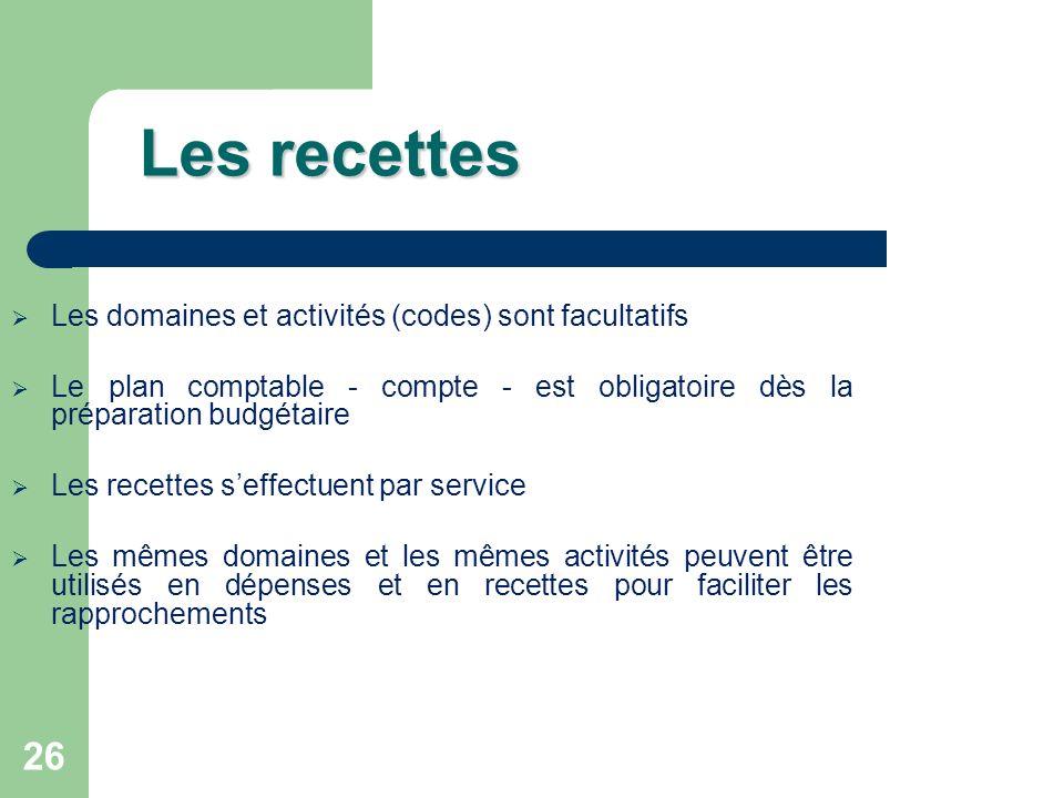 Les recettes Les domaines et activités (codes) sont facultatifs