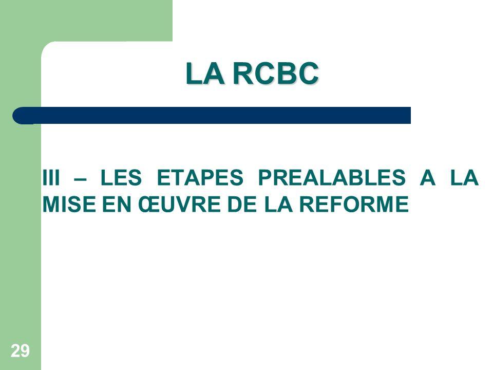 LA RCBC III – LES ETAPES PREALABLES A LA MISE EN ŒUVRE DE LA REFORME