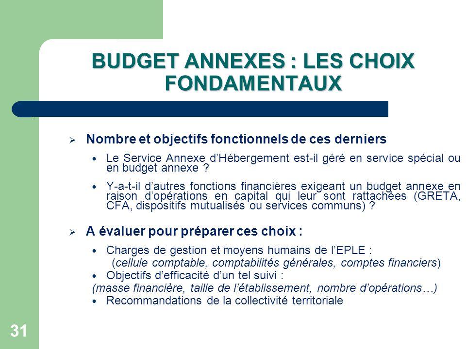 BUDGET ANNEXES : LES CHOIX FONDAMENTAUX