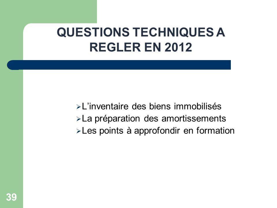 QUESTIONS TECHNIQUES A REGLER EN 2012