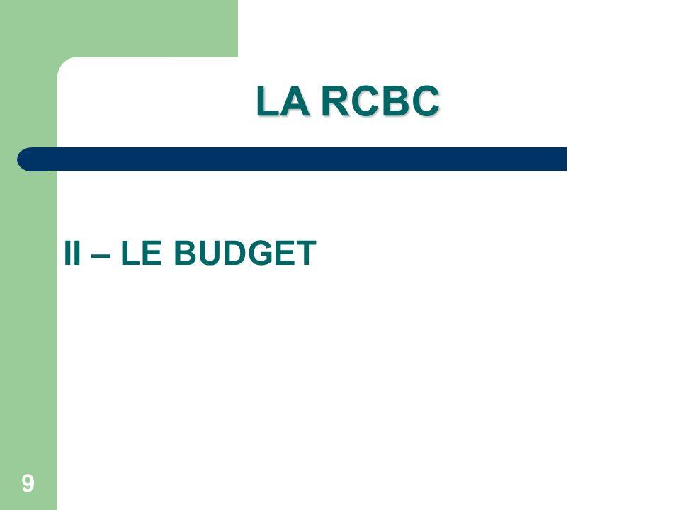 LA RCBC II – LE BUDGET