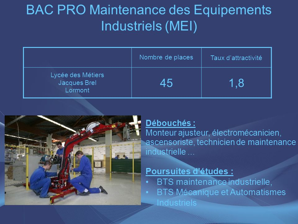 BAC PRO Maintenance des Equipements Industriels (MEI)