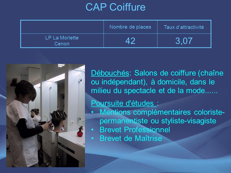 CAP Coiffure Nombre de places. Taux d'attractivité. LP La Morlette. Cenon. 42. 3,07.