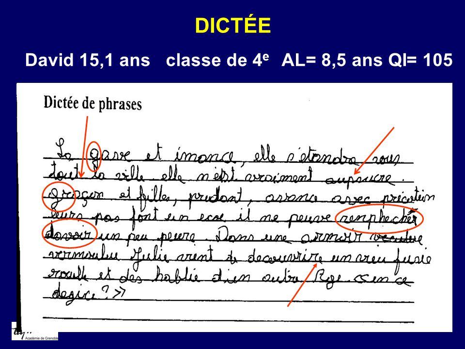 DICTÉE David 15,1 ans classe de 4e AL= 8,5 ans QI= 105