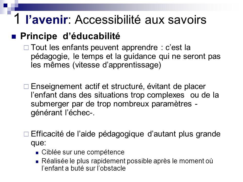 1 l'avenir: Accessibilité aux savoirs