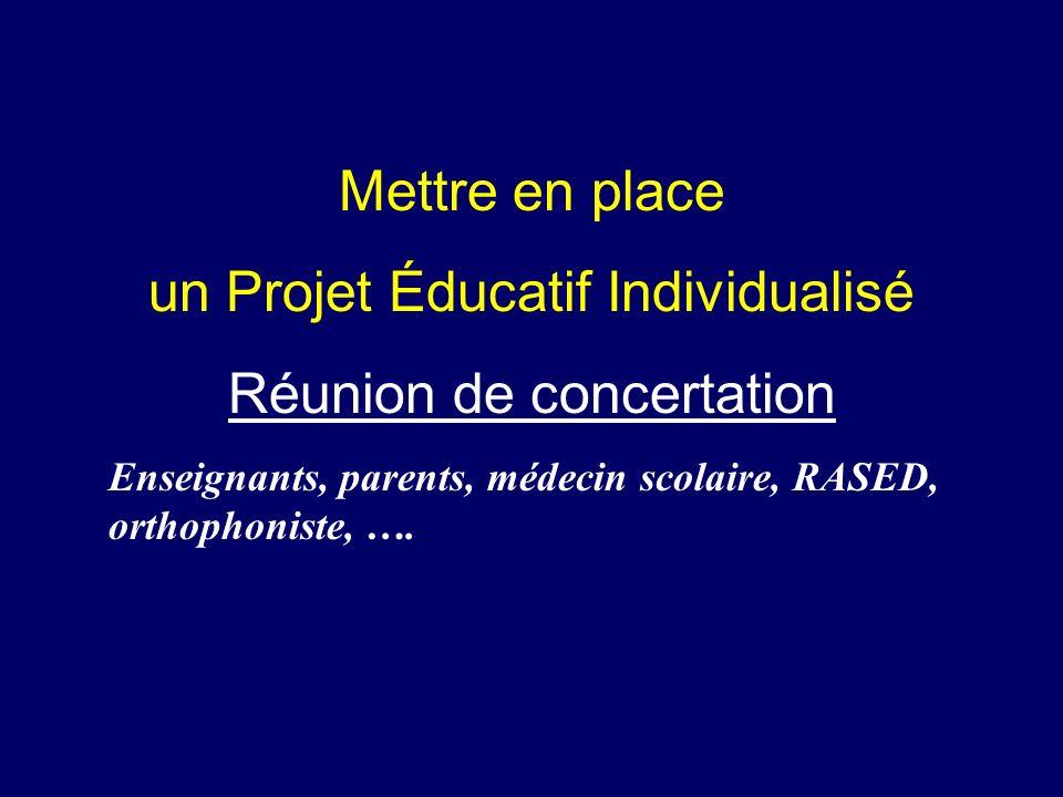 un Projet Éducatif Individualisé Réunion de concertation