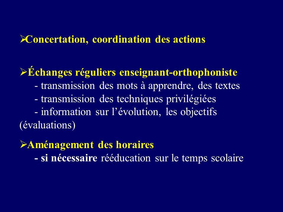 Concertation, coordination des actions