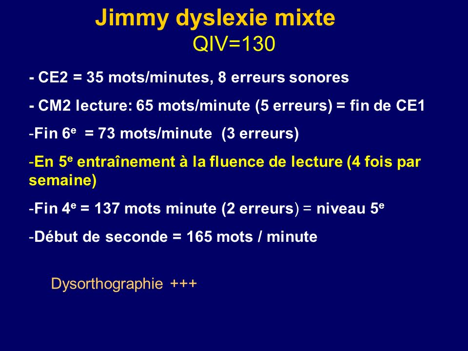 Jimmy dyslexie mixte QIV=130