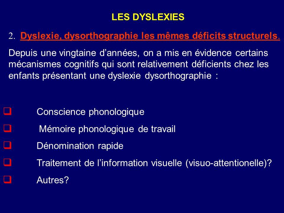 LES DYSLEXIES 2. Dyslexie, dysorthographie les mêmes déficits structurels.