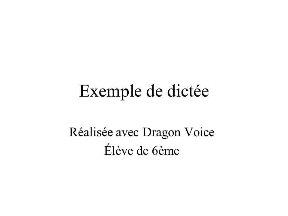 Réalisée avec Dragon Voice Élève de 6ème