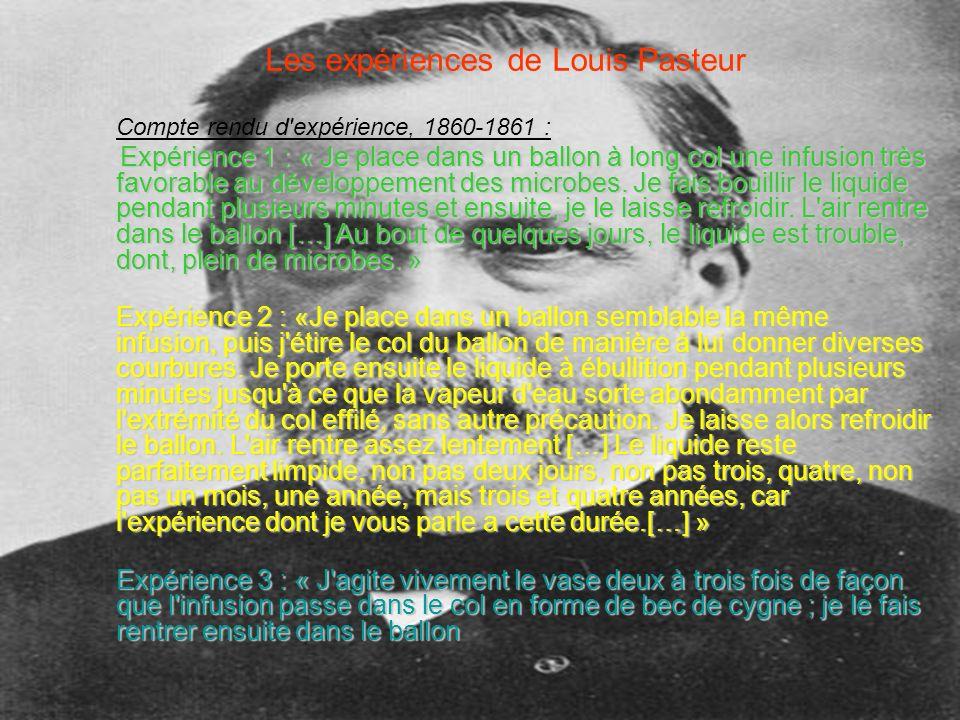 Les expériences de Louis Pasteur
