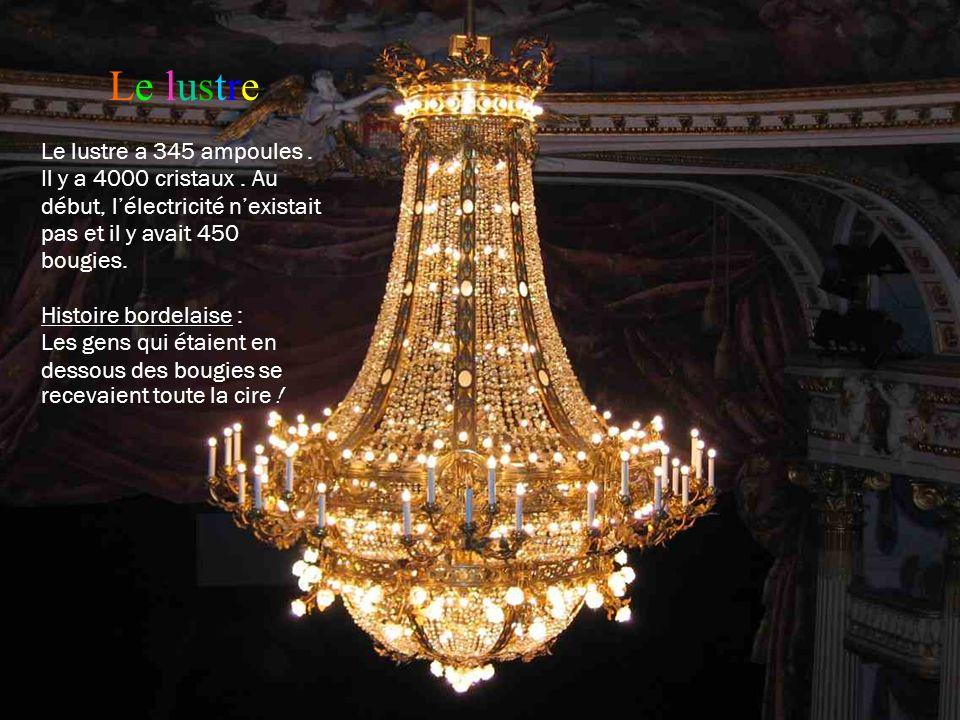 Le lustre Le lustre a 345 ampoules . Il y a 4000 cristaux . Au début, l'électricité n'existait pas et il y avait 450 bougies.