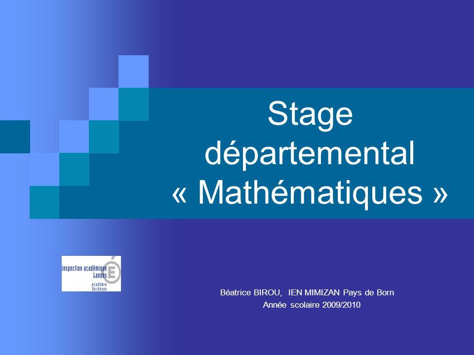 Stage départemental « Mathématiques »