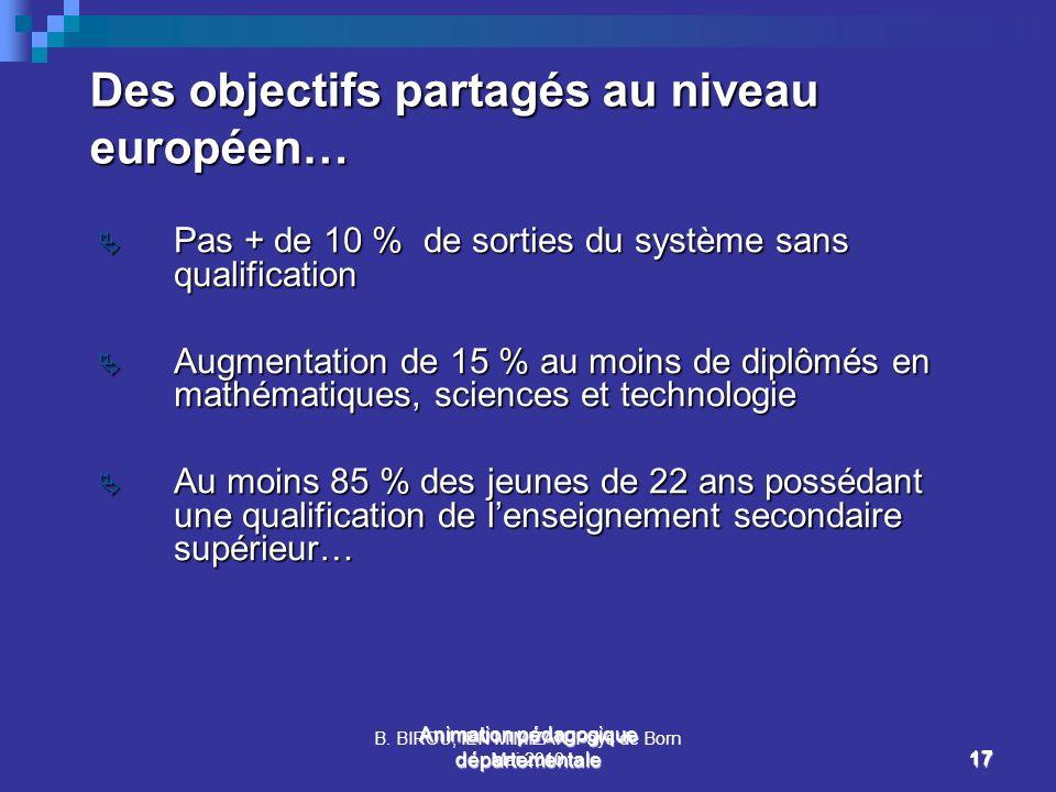Des objectifs partagés au niveau européen…