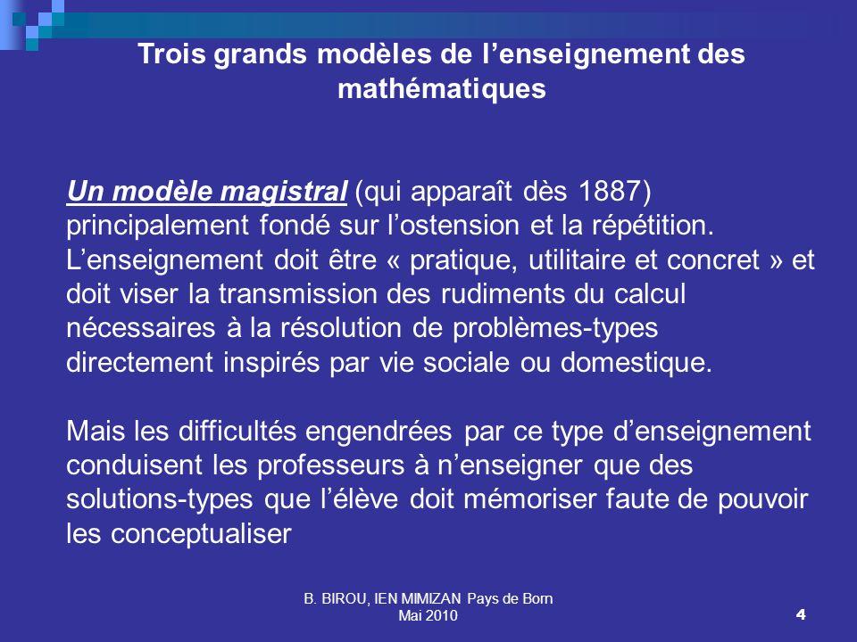 Trois grands modèles de l'enseignement des mathématiques