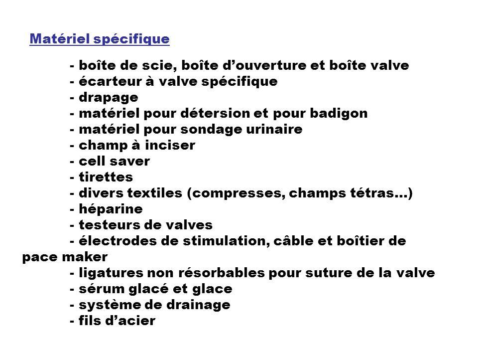 Matériel spécifique - boîte de scie, boîte d'ouverture et boîte valve. - écarteur à valve spécifique.