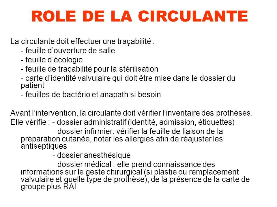 ROLE DE LA CIRCULANTE La circulante doit effectuer une traçabilité :