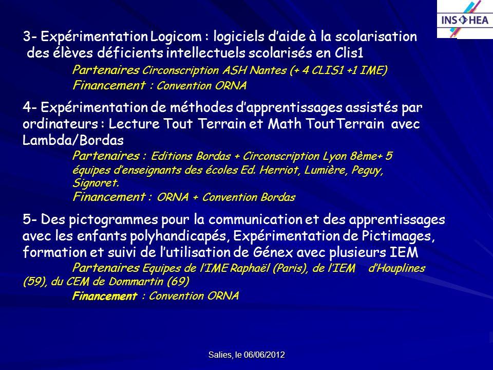 3- Expérimentation Logicom : logiciels d'aide à la scolarisation