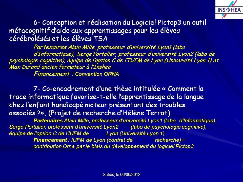 6- Conception et réalisation du Logiciel Pictop3 un outil métacognitif d'aide aux apprentissages pour les élèves cérébrolésés et les élèves TSA