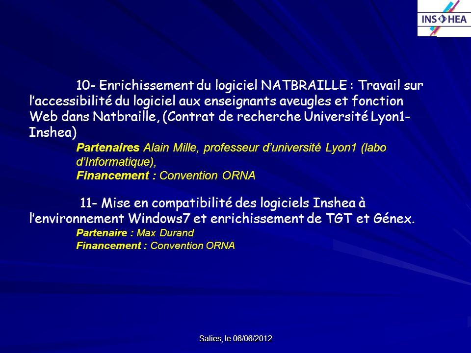 10- Enrichissement du logiciel NATBRAILLE : Travail sur l'accessibilité du logiciel aux enseignants aveugles et fonction Web dans Natbraille, (Contrat de recherche Université Lyon1-Inshea)