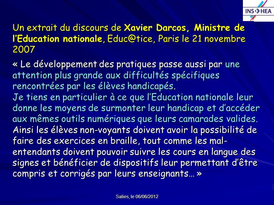 Un extrait du discours de Xavier Darcos, Ministre de l'Education nationale, Educ@tice, Paris le 21 novembre 2007