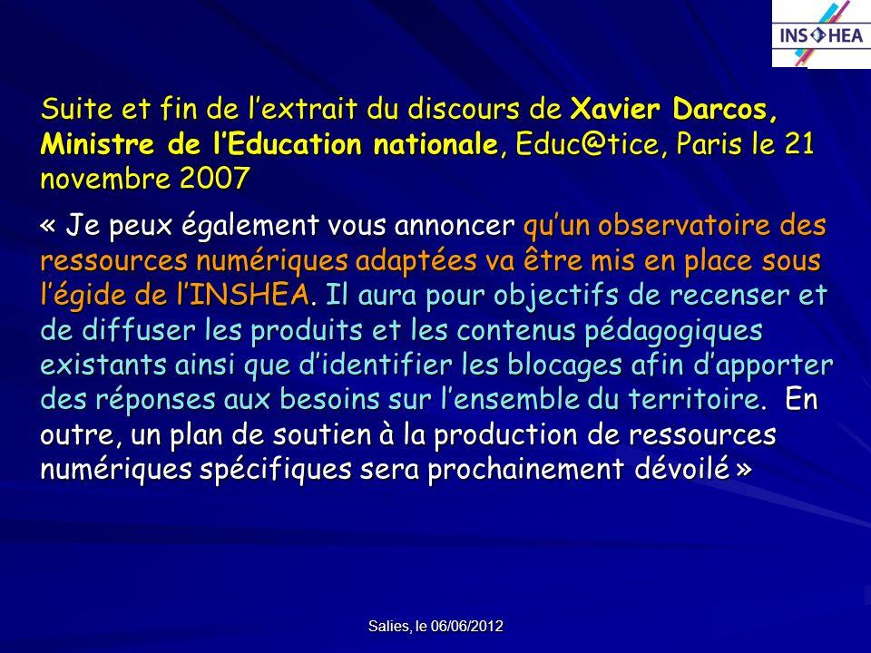 Suite et fin de l'extrait du discours de Xavier Darcos, Ministre de l'Education nationale, Educ@tice, Paris le 21 novembre 2007