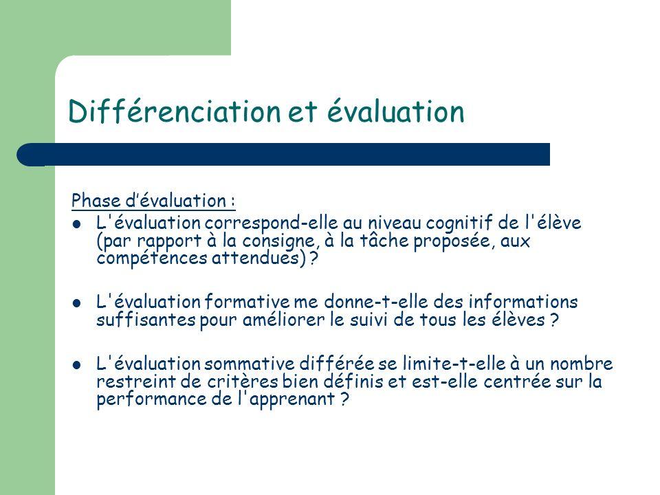 Différenciation et évaluation