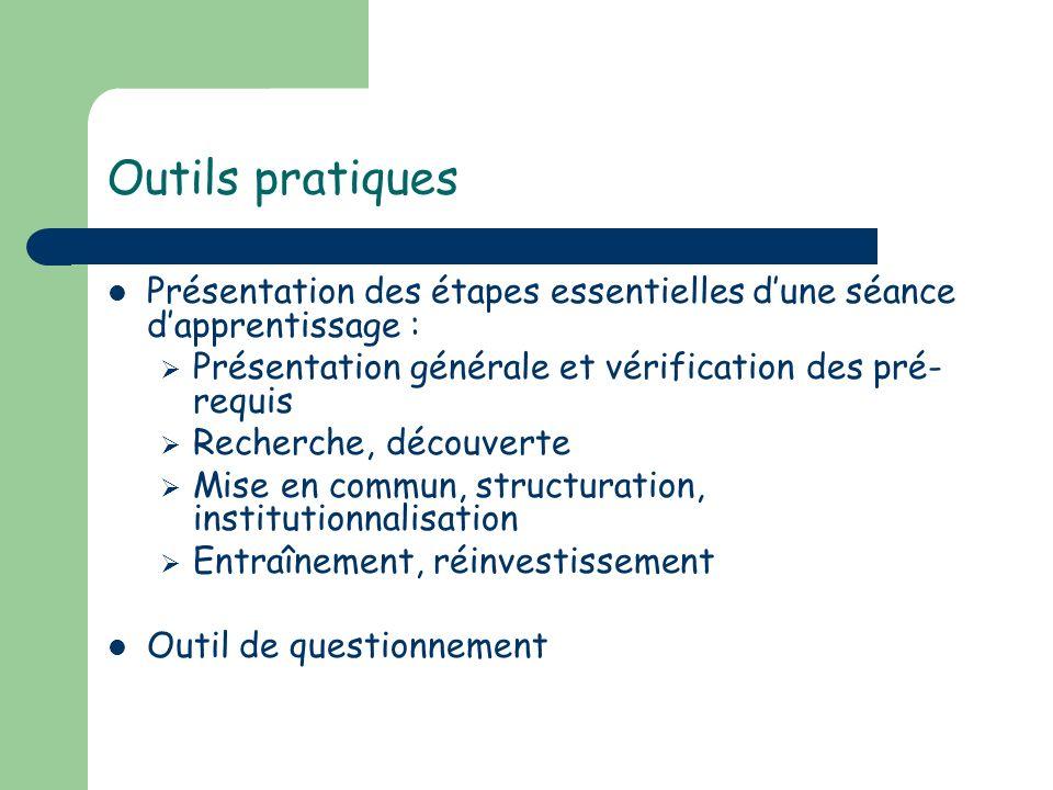 Outils pratiques Présentation des étapes essentielles d'une séance d'apprentissage : Présentation générale et vérification des pré-requis.