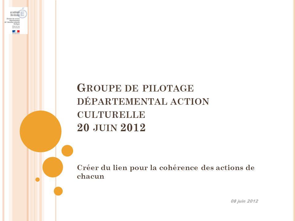 Groupe de pilotage départemental action culturelle 20 juin 2012