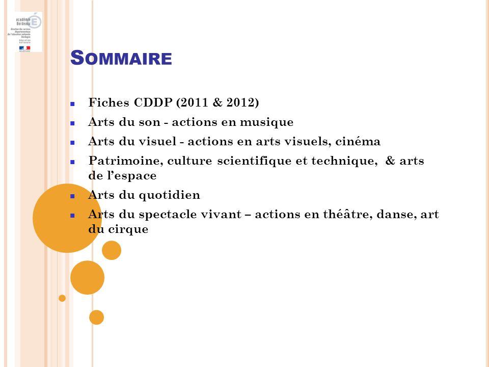 Sommaire Fiches CDDP (2011 & 2012) Arts du son - actions en musique