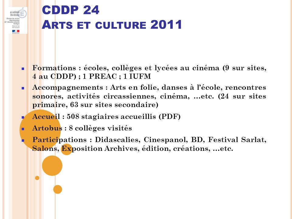 CDDP 24 Arts et culture 2011 Formations : écoles, collèges et lycées au cinéma (9 sur sites, 4 au CDDP) ; 1 PREAC ; 1 IUFM.