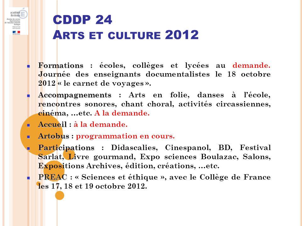 CDDP 24 Arts et culture 2012