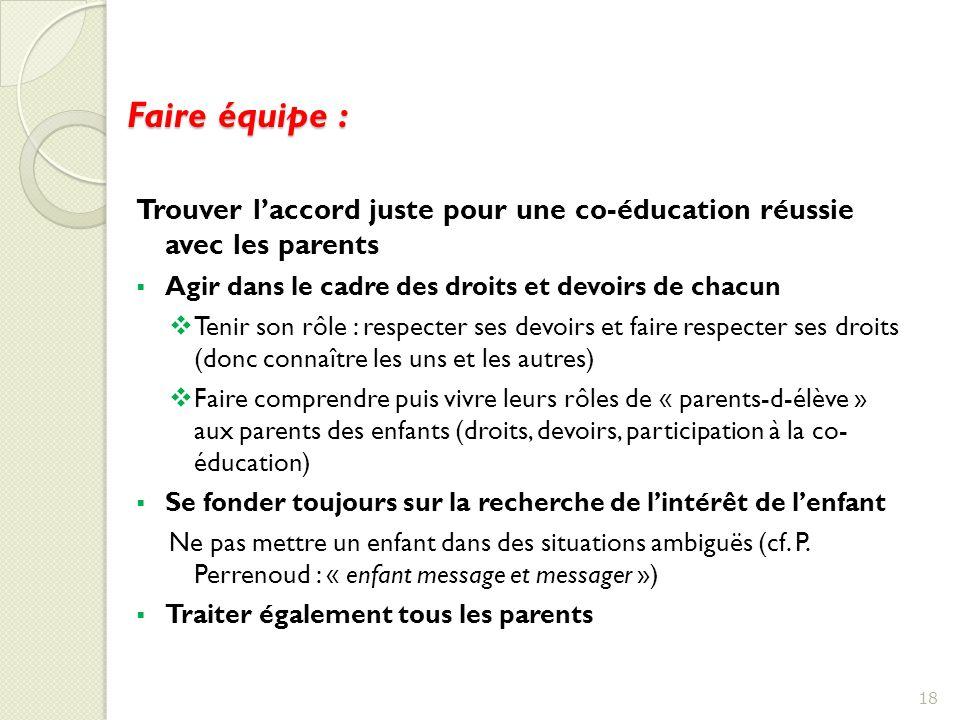 Faire équipe : Trouver l'accord juste pour une co-éducation réussie avec les parents. Agir dans le cadre des droits et devoirs de chacun.